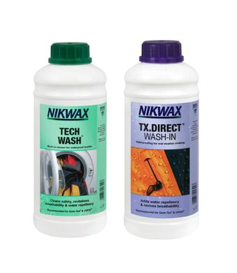 Набор Nikwax Twin Pack - Tech Wash 1L + TX Direct 1L, purple, Наборы для ухода, Для одежды, Для мембран